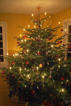 Nice example of a German Christmas tree with real candles. Come on, it's not as dangerous as everyone thinks! It just takes skill to place the candles in the appropriate spots! And of course you don't leave the room while they're burning.