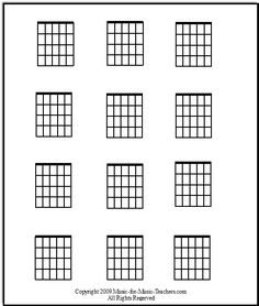 Blank guitar chord chart! Print it out and fill it in with all the cool new chords you learn :)