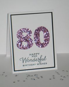 80th Birthday Card  Any Age  Milestone Birthday by GlitterInkCards, $4.50