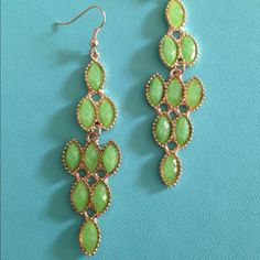Green and Gold Sleek drop Earrings Green and Gold Sleek drop Earrings Jewelry Earrings