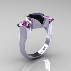 Classic French 14K Black Gold 3.0 Carat Light Pink by artmasters