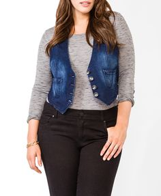 Tailored Denim Vest | FOREVER21 PLUS - 2030187940