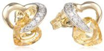 10k Gold-Gemstone-and Diamond Heart Earrings