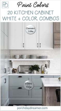 20 Kitchen Cabinet Paint Colors : Two-toned painted cabinets in the kitchen are a hot trend that is here to stay! Here are some timeless paint color combos to consider for your kitchen to break up an all white kitchen. White and colored kitchen cabinets. Farmhouse Kitchen Cabinets, Farmhouse Style Kitchen, Kitchen Redo, Colorful Kitchen Cabinets, Rustic Kitchen, Farmhouse Sinks, Kitchen Counters, Kitchen Backsplash, Painting Kitchen Cabinets White