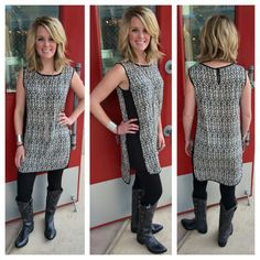 .**JUST IN!** Classic black & white tunic with @johnnyringoboots ! Only in our #Austin store! #ootd #classicstyle #southernstyle #sothread #atx — at Southern Thread @ The Domain
