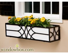 The Falling Water Window Box Cage (Square Design) - Wrought Iron Window Boxes - Window Boxes - Windowbox.com