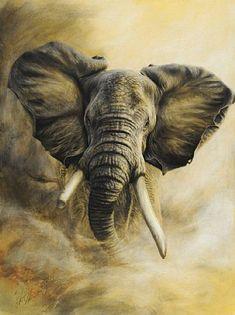 Mr Grumpy-African bull elephant - Charging African bull elephant by Steve Morvell Image Elephant, Bull Elephant, Elephant Love, African Art Paintings, Animal Paintings, Animal Drawings, Elephant Paintings, Elephant Artwork, Charcoal Paint