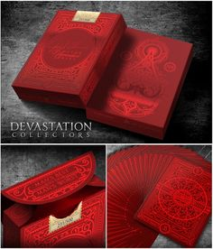 Devastation Collectors Numbered Edition playing cards deck-The Collector's edition will include stunning red foil on a sturdy matte Red tuck with crisp embossing.Only 500 of the Collect Unique Playing Cards, Playing Cards Art, Custom Playing Cards, Box Design, Game Design, Typographie Fonts, Card Companies, Deck Of Cards, Card Deck