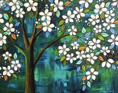 Magnolias en un patrón de punto de cruz contado por Maxispatterns