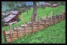 Rustic log fence ..Switzerland