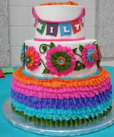 All buttercream. Frida Kahlo Party Decoration, Baby Shower Cakes, Birthday Cake, Desserts, Food, Cakes Baby Showers, Tailgate Desserts, Deserts, Birthday Cakes