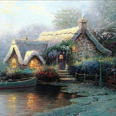 Lochaven Cottage Thomas Kinkade art for sale at Toperfect gallery. Buy the Lochaven Cottage Thomas Kinkade oil painting in Factory Price. Thomas Kinkade Puzzles, Thomas Kinkade Art, Classic Paintings, Beautiful Paintings, Kinkade Paintings, Oil Paintings, Thomas Kincaid, Art Thomas, Cottage Art