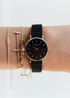 The Small Edit Schwarz Schwarz Gold - Damen Accessoires Stylish Watches, Luxury Watches, Sport Watches, Watches For Men, Cheap Watches, Gold Watches Women, Nice Watches, Rose Gold Watches, Vintage Watches