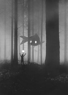 Eerie, dark illustrations of a person standing in front of giant animals in some mythical land – Dawid Planeta Inspiration Art, Art Inspo, Art Noir, Giant Animals, Wild Animals, Dark Paintings, Fantasy Paintings, Arte Obscura, Surrealism Painting
