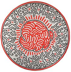 Keith HARING (1958-1990) Untitled, 1985 signed and dated on the reverse 'Oct 17 85 k. Haring' oil on canvas, tondo diameter 137 cm. (54in.) Acquired by a Private Collector