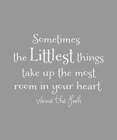 """Sometimes the littlest things take up the most room in your heart."" — Winnie the Pooh"