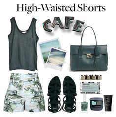 """Show Us How You Style High-Waisted Shorts"" by bamaannie ❤ liked on Polyvore featuring Boohoo, American Vintage, ASOS, Salvatore Ferragamo, Polaroid, Obsessive Compulsive Cosmetics, Bare Escentuals and NARS Cosmetics"