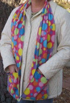 Colorful Polka Dot Circles Pocket Handwarmer Winter Scarf Design Fleece Neck 70 x 9 Fleece Crafts, Fleece Projects, Easy Sewing Projects, Sewing Crafts, Sewing Ideas, Fleece Scarf, Diy Scarf, Fleece Blankets, Fleece Patterns