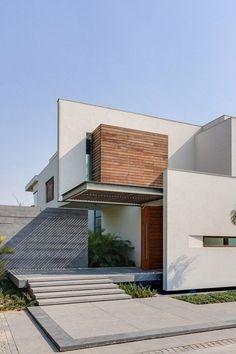 convinacion de madera, concreto y blanco.