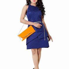 Navy Blue Crepe Silk Western Dress