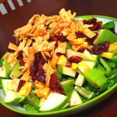 When I'm not creating art and taking care of my family, I make yummy meals! Here is my Green with Color salad. Romaine lettuce, snap peas, green bell pepper, green apple chunks, Colby jack cheese, dried cranberries, wontons topped with red wine vinaigrette. #seystudios