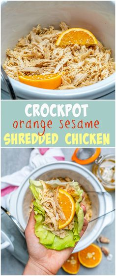 Healthy Crockpot Orange Sesame Shredded Chicken
