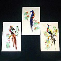 mexico feather art vintage 1940 | Set 3 Mexican Bird Feather Art Pictures | Vintage / Antique Art