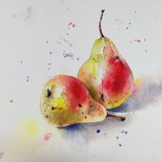 Watercolor в 2019 г. Watercolor Art Lessons, Watercolor Paintings For Beginners, Watercolor Art Diy, Watercolor Fruit, Watercolor Art Paintings, Watercolor Projects, Fruit Painting, Watercolor Techniques, Watercolor Flowers