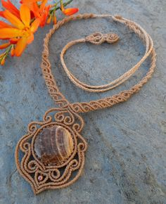 Wood Fossil / Petrified Wood- Macrame necklace -stone size approx. 3.3/3.3cm