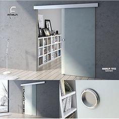 Modern Sleek Sliding Glass Door System Interior Internal Living Dining Room New (1025mm x 2050mm, Fully Frosted & Bar Handle)