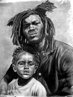 Rastafarian Art Gallery - Ras Daniel Heartman - Father and Son. Art Gallery, American Art, African, Soulful Art, Afrocentric Art, Rastafari Art, Art, American Painting, Love Art
