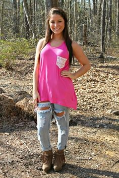 Not The Only One Tank - Pink $22.99 #SouthernFriedChics
