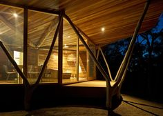 """""""Trunk House"""" in Australia uses forked tree trunks to support the roof. It has 2 bedrooms in 915 sq ft.   www.facebook.com/SmallHouseBliss"""