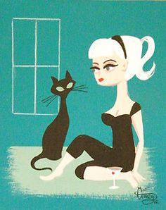 ღღ This is one of my favorites...  Aritst El Gato Gomez   ~~~ Google Image Result for http://i.ebayimg.com/t/EL-GATO-GOMEZ-PAINTING-MID-CENTURY-MODERN-EAMES-BLACK-CAT-PIN-UP-GIRL-BEATNIK-/00/s/MTYwMFgxMjY3/%24T2eC16hHJHwE9n8ikMDPBQ)jvWOE(g~~60_35.JPG