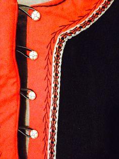 Trim and embroidery on men's wool Viking kaftan. By BadAss Garb