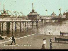 Vintage postcard 'Brighton, The West Pier' Brighton Sea, Brighton Sussex, Brighton And Hove, England And Scotland, Trifles, Old Postcards, Vintage Travel Posters, Puddings, Old Photos