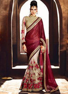 Designer Sarees online shopping in USA UK Canada|Buy Wine Zari Work Lycra Designer Saree