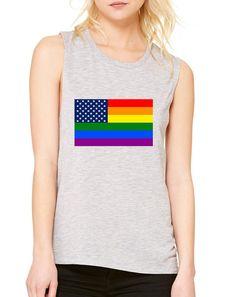 Women's Flowy Muscle Top United States Gay Pride Flag Love Top  #pride #tanktop #gaypride #womensfashion #lesbian