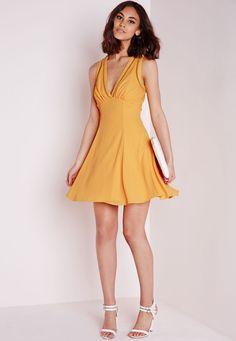 Missguided - Ladder Detail Cross Back Swing Dress Yellow