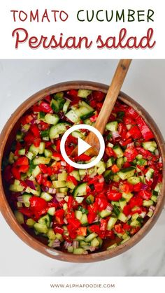 Cucumber Onion Salad, Tomato And Onion Salad, Tomato Salad Recipes, Onion Recipes, Veg Recipes, Lunch Recipes, Vegetarian Recipes, Healthy Recipes, Persian Salad