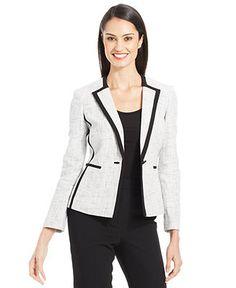 Kasper Single-Button Metallic Tweed Blazer - Jackets & Blazers - Women - Macy's