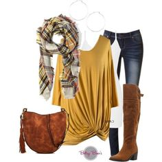 (pre-order) Set 981: Mustard Blanket Scarf Set (includes top, tank & scarf)