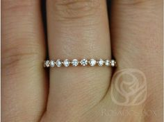 Rosados Box Petite Naomi/ Petite Bubble & Breathe 14kt Rose Gold Diamond HALFWAY Eternity Band