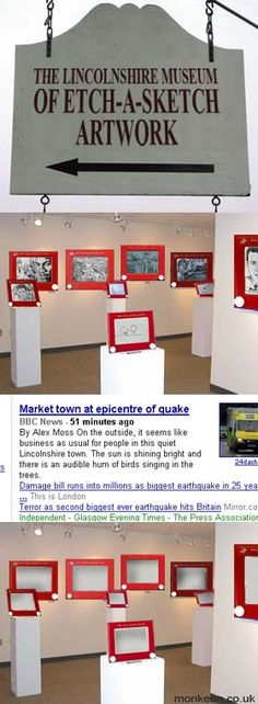 Etch-a-Sketch museum before and after an earthquake.
