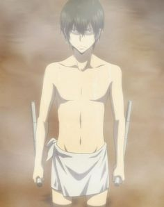 Hibari is prepared for a fight anytime. EVEN IN A TOWEL.