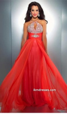 f6a7c033cf Buy Sexy Orange Long Bead Chiffon Party Dress Cocktail Dress Ball Gowns  Club Dress Evening Prom Gowns at Wish - Shopping Made Fun