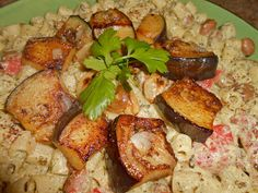 Ditali Pasta in Tahini Herb Sauce with Roasted Red Peppers and Garlic Eggplant