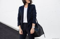 Pinstripes Suit + Bucket Bag I More on viennawedekind.com