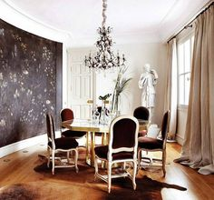 Dining Room Glass Windows  Brown Fabric Curtains  Black Floral Wall Paint  Traditional Chandeliers  Oval Glass Pedestal Dining Table  Red Fabric Dining Table  Laminate Flooring Amazing Dining Room Wall Decoration Ideas