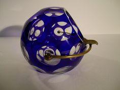 Antiker Glas Ascher aus den 50zigern blau  Adelsbesitz